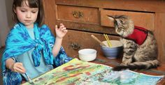 Iris compared to Monet, sold art to Brad Pitt and Angelina Jolie and has a therapy cat called Thula Brad Pitt, George Seurat, Autistic Artist, Adorable Petite Fille, Maurice Careme, Children With Autism, 5 Year Olds, Renoir, Selling Art