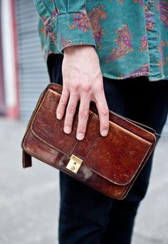Vintage leather men's clutch