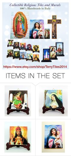"""Christian collectible tiles by TerryTiles2014"" by terrytiles2014 on Polyvore featuring arte, christian, handmade e religious"