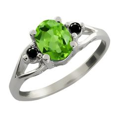 1.21 Ct Oval Green Peridot and Black Diamond Sterling Silver Ring