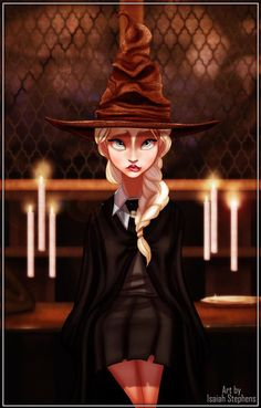 If Disney characters went to Hogwarts (incredible Disney/Harry Potter work by Isaiah Stephens) Does the sorting hat give anyone else anxiety? Elsa is looking nervous. Harry Potter Disney, Disney Hogwarts, Harry Potter Art, Disney E Dreamworks, Disney Pixar, Walt Disney, Disney Frozen, Elsa Frozen, Disney Dream
