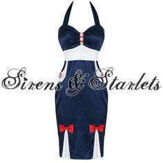 BANNED LADIES NAVY BLUE SATIN ROCKABILLY SAILOR PINUP VTG 50S PENCIL FANCY DRESS
