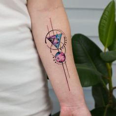 Geometric Space by koraykaragozler. on You are in the right place about Geometric space tattoos triangles Here we offer you the most beautiful pictures about the Geometric space tattoo Wrist Tattoos, Body Art Tattoos, New Tattoos, Tattoos For Guys, Sleeve Tattoos, Tattoos For Women, Tattos, Galaxy Tattoos, Trendy Tattoos