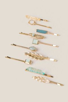 Gala Gold Stone Set of Bobby Pins- Mint alternate