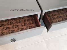 Whimsical paper lined drawers