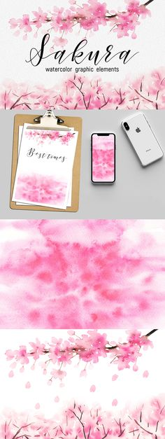 Sakura watercolor graphic elements