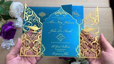 Aladdin and Princess Jasmine Wedding Invitation Quince Invitations, Elegant Invitations, Wedding Invitations, Laser Cut Invitation, Princess Jasmine Wedding, Aladdin Wedding, Festa Tema Arabian Nights, Arabian Nights Party, Jasmine E Aladdin