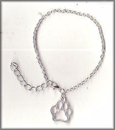 Dog Paw Charm Silver Plated Belcher Bracelet(18cm)  by MadAboutIncense - $9.50