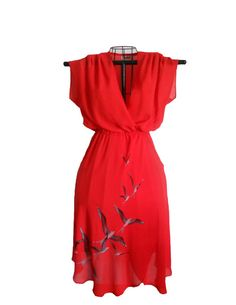 Vintage Summer Red Dress  Niki Brand Wrap by houseofheirlooms, $26.75