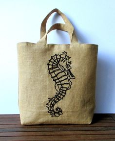 1f2aae008 Large summer embroidered jute tote bag, hand embroidered with a seahorse in  black, beach bag, shoppers bag, one of a kind bag