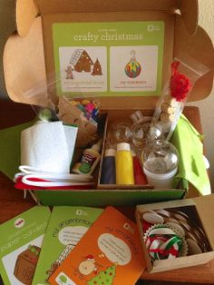 Crafty Christmas from @Kiwi Crate! Make a Gingerbread House (out of cardboard and felt) plus three globe ornaments.