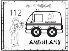 acil numaralar ambulans boyama sayfası