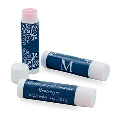 Wedding Monogram Navy Lip Balm - OrientalTrading.com