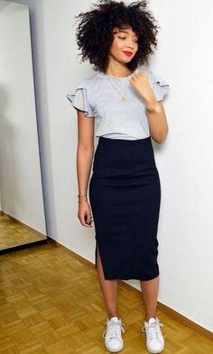 Mais autumn spring office pencil long casual skirt soft grey sweatshirt top