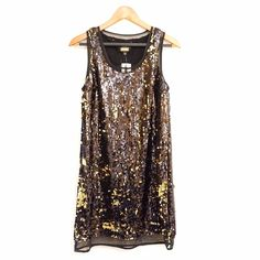 """NWT Alexia Admor black/gold sequin cocktail dress NWT. Black shift dress with black/gold sequin. Sheer trimmings. Size:XS. Bust: 35"""". Waist: 35"""". Length: 33"""". 100% polyester / lining: 79% nylon 21% spandex. Spot clean only. Alexia Admor Dresses Mini"""