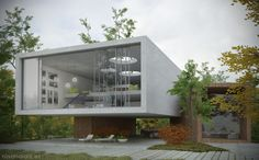 Infografía de arquitectura -  vista exterior en un día nublado. www.rosanalaiz.es