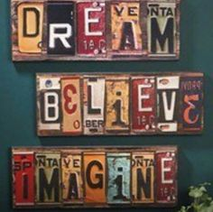 Cool idea license plate crafts, old license plates, license plate art, licence plates License Plate Crafts, Old License Plates, License Plate Art, Licence Plates, License Plate Ideas, Upcycled Vintage, Repurposed, Do It Yourself Upcycling, Typography Inspiration