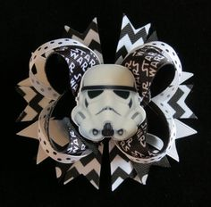 STAR WARS hair bow headband Storm Trooper 5 inch clip barrette toddler girl Black white resin The Force Cici's