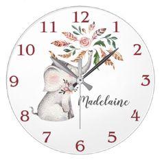 Little Girl's Boho Pink Gray Baby Elephant Large Clock - decor gifts diy home & living cyo giftidea