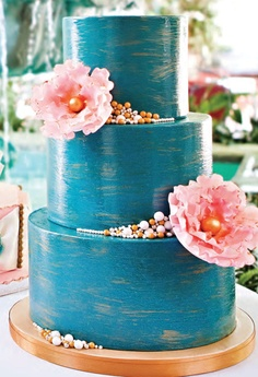 Teal wedding cake-but would do silver and ivory Amazing Wedding Cakes, Amazing Cakes, Cupcakes, Cupcake Cakes, Coral Wedding Cakes, Teal Cake, Cake Art, Art Cakes, Take The Cake