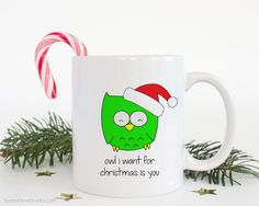 Christmas Mug Funny Coffee Mugs Santa Owl You Need Is Love Pun Gift For Friend Her Him Cute Fun Kawaii Happy Holidays Holiday Gifts Ideas  Christmas Card For Boyfriend Girlfriend Husband Wife Funny Love Pun Fun Handmade Greeting Cards Xmas Holiday Cute Owl Gifts Gift Her Him  Owl I Want For Christmas Is You...a fun gift for your girlfriend, boyfriend, wife, husband, significant other! Give this cute santa owl mug and tell them how much they mean to you this holiday season! He makes a sweet…