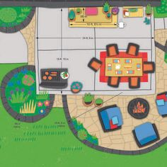Andrew's Ideal Patio Plan showing layout of lounging, entertaining, and cooking zones