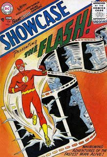 The Origin & 1st Appearance of The Flash in Showcase #4: Mystery of the Human Thunderbolt!  The story introduces readers to Barry Allen, a police scientist who is doused with chemicals that are struck by lightning. Barry soon finds that he has been endowed with super-speed and creates a costume which contracts and hides in his ring. He takes on the name of his favorite comic book character: The Flash. ...........#TheFlash   #BarryAllen   #SIlverAgeComicBooks   #OriginStory   #FirstAppearance…