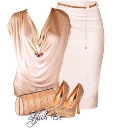 Gold tones women's fashion outfit idea