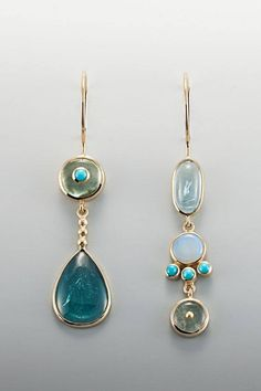Asymmetrical earrings by Janis Kerman.