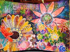 Spring Dylusion inks & paints, collage, paint pens, stencils, homemade flower stencils & masks