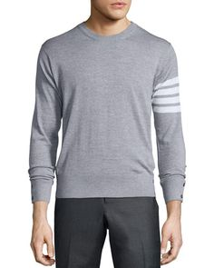 M0FRT Thom Browne Merino Wool Crewneck Sweater, Light Gray