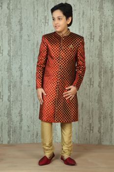 Velvet sherwani embellished with hand work from #Benzer #Benzerworld #kidswear
