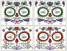 DaLin Floral Day of the Dead Sugar Skull Temporary Face Tattoo Kit for Halloween – Pack of 4 Kits Review