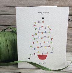 Handgemachte Weihnachtskarte. Urlaub-Grußkarte. Aquarell