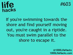 This is a general truth but its more accurate to say you need to swim parallel to the rip tide. 100 Life Hacks, Simple Life Hacks, Life Tips, Survival Tips, Survival Skills, Beach Memes, Beach Hacks, Beach Ideas, Making Life Easier
