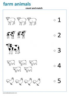 Worksheet Counting to 5. Count and Match Farm Animals. Preschool and Kindergarten worksheet. Kindergarten Learning, Preschool Learning Activities, Preschool Printables, Preschool Math, Farm Animals For Kids, Farm Animals Preschool, Animal Worksheets, Kids Math Worksheets, All About Me Preschool
