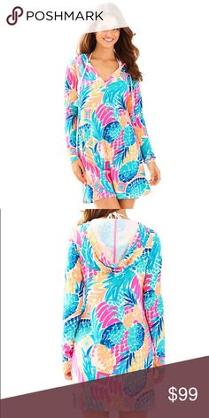 Lilly Pulitzer Rylie SPF Hoodie Cover Up Adorable pineapple patterned coverup in Goombay Smashed. Brand new, still in the bag. No trades. Lilly Pulitzer Swim Coverups