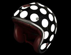 In my search for a polka-dotted bicycle helmet, I came across this adorable motorcycle helmet by French brand Ruby. It's crazy-expensive and it's for motorcycle use, but it's a seriously awesome piece so I had to share. How cute would. Dot Motorcycle Helmets, Scooter Helmet, Scooter Motorcycle, Moto Bike, Ruby Helmets, Retro Helmet, Vintage Helmet, Helmet Brands, Polka Dots