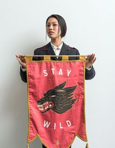 Stay Wild banner handmade by Dan Christofferson at Beeteeth. Flag Store, Pennant Flags, Bunting, Palais Galliera, Craft Show Displays, Flag Design, Grafik Design, Textiles, Textile Art