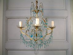 French vintage bronze and glass prism chandelier. by Chanteduc