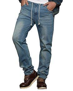 249695bee282de Beautiful HEMIKS HEMIKS Men's Comfy Stretch Drawstring Elastic Waist  Regular Fit Denim Jeans Pants Light Blue