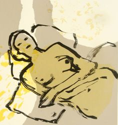 Buy Waking beauty - Limited Edition 1 of 6, a Screenprinting on Paper by Iona Stern from United Kingdom. It portrays: Women, relevant to: beauty, reclining, yellow, drawing, fabric, fashion, flowers, grey, ink, nude Reclining figures are a recurring theme of mine. I wanted to explore the figure nestling within but also breaking out of strong areas of colour. The figure was painted with fresh, free brush marks. These contrast with the flat colours of the background and the textile prints. I…