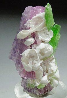 Pink Tanzanite, Calcite & Chrome Tremolite.