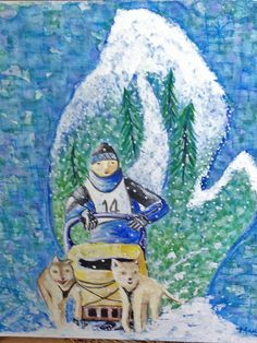 New painting for Sled Dog Races. Acrylic and ink. Mary Wadsworth