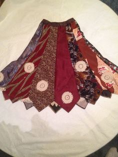 Up-Cycled skirt made from men's ties and vintage hand crocheted lace size small. $43.00, via Etsy.- mens men's gentlemens gentlemen's neckties ties neck-ties refashion upcycle recycle clothing clothes