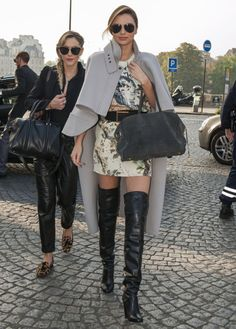 Miranda Kerr in Paris with some serious over-the-knee boots #streetstyle