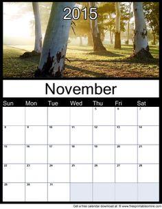 November 2015 Printable Monthly Calendar