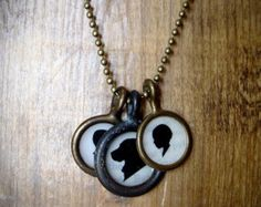 small size . three pendant . custom silhouette necklace