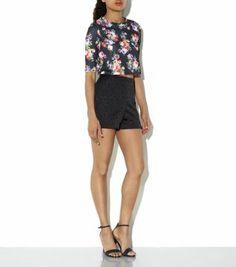 Black 1/2 Sleeve Floral Print Boxy Crop Top - New Look
