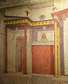 House of Augustus (Domus Augusti), South wall of the Mask Room, Pompeian style, Palatine Hill, Rome Ancient Pompeii, Pompeii And Herculaneum, Ancient Ruins, Ancient Art, Ancient History, Rome Antique, Art Antique, Architecture Antique, Historical Architecture